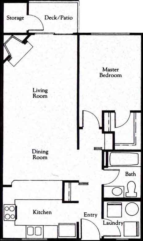 At entry, laundry is to right and galley kitchen is to left. Hallway coat closet is opposite entry to bathroom on right. Bedroom with walk-in closet is at end of hallway. Hallway also provides access to open-concept dining and living room, with fireplace and door to deck and storage.