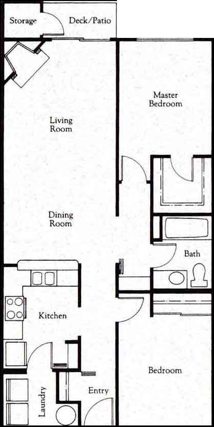 At entry, laundry and kitchen to the left. Along hallway to right are access to two bedrooms, with bathroom in between. Hallway ends at entry to open-concept dining and living room, with fireplace and access to deck and storage.