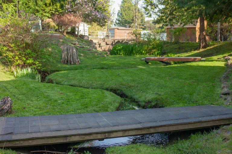 Grass with a bridge over a stream